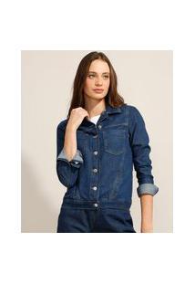 Jaqueta Jeans Com Bolsos Azul Escuro