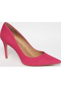 Scarpin Em Couro Acamurçado- Pink- Salto: 8,5Cmcarrano
