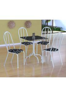Conjunto De Mesa Malaga Com 4 Cadeiras Alicante Branco E Preto Floral