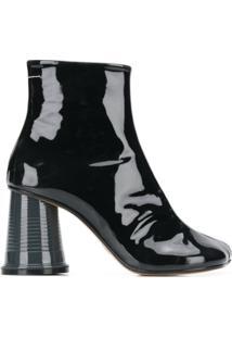 Mm6 Maison Margiela Ankle Boot De Couro E Seda - Preto