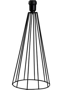 Abajur Em Ferro Sem Cúpula Tower 40Cm Preto