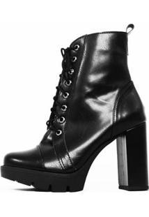 Bota Damannu Shoes Annie Salto Grosso Feminina - Feminino-Preto
