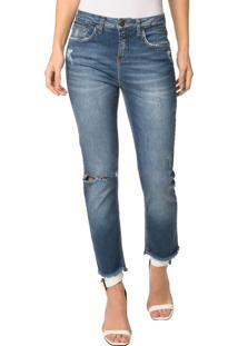 Calça Jeans Five Pocktes High Rise Slim Ckj 020 High Rise Slim - Azul Médio - 40