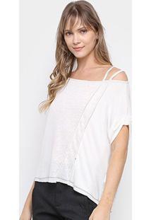 Blusa Santíssima Decote Canoa Feminina - Feminino-Off White