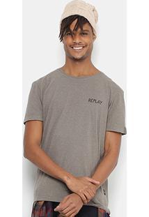 Camiseta Replay Botonê Masculina - Masculino-Cinza