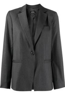 A.P.C. Long-Sleeved Front Button Jacket - Cinza