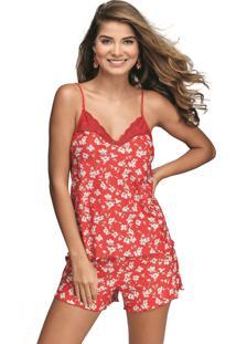 Pijama Curto Shortdoll Cabernet Demillus 20430 Chic Red