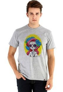 Camiseta Ouroboros Manga Curta Chibi Catrina - Masculino-Cinza