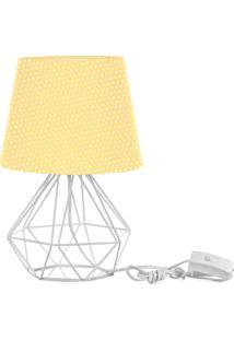 Abajur Diamante Dome Amarelo/Bolinha Com Aramado Branco - Amarelo - Dafiti