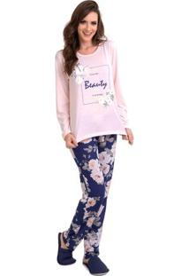 Pijama Longo Inverno Floral Feminino Adulto Luna Cuore