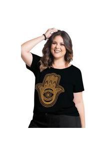 T-Shirt Plus Size Marguerite Hamsá Em Malha De Algodão Preta