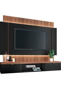 Painel Home Suspenso Para Tv Até 55 Sala De Estar Shawn Preto/Nature - Gran Belo