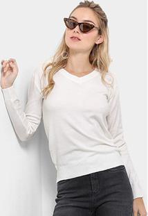 Suéter Tricot Pérola Gola V Liso Feminino - Feminino-Branco