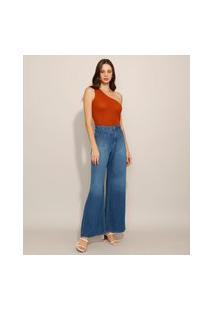 Calça Wide Pantalona Jeans Com Bolsos Cintura Super Alta Azul Escuro