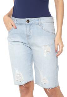 Bermuda Jeans Morena Rosa Reta Destroyed Azul