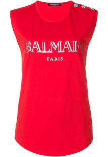 Balmain Regata Com Logo Estampado - Vermelho