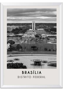 Quadro Oppen House 65X45Cm Cidades Florianã³Polis Brasil Moldura Branca Sem Vidro - Oppen House Decora - Preto - Dafiti
