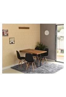 Conjunto De Mesa Dobrável Retrátil 120 X 75 Noronha + 4 Cadeiras Botonê - Preta