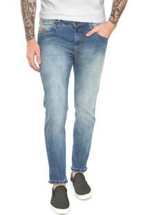 Calça Jeans Triton Skinny Cropped Bolsos Azul