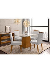 Conjunto De Mesa De Jantar Com Tampo De Vidro Bárbara E 4 Cadeiras Munique Linho Off White