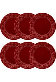 Conjunto 6 Pratos Rasos Oxford Serena Veludo Cerâmica 26Cm Bordô