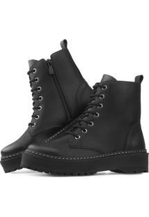 Bota Flatform Touro Boots Tratorada Fosca Preta Preto - Kanui