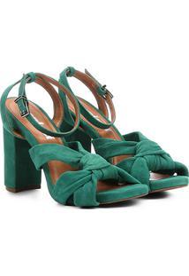 Sandália Em Camurça Colcci Com Nó Feminina - Feminino-Verde
