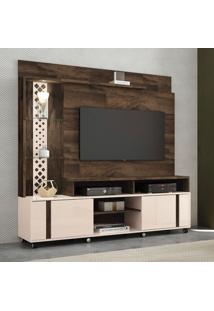 Estante Para Home Theater E Tv Até 55 Polegadas Vitral Marrom Deck E Off White