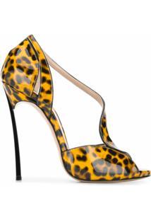 Casadei Sandália Com Estampa De Leopardo E Salto 130Mm - Amarelo
