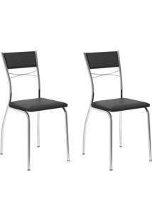 Conjunto Com 2 Cadeiras Andy Preto E Cromado