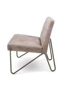 Poltrona Jiu Assento Bege Envelhecido Base Bronze 73Cm - 62536 Bronze