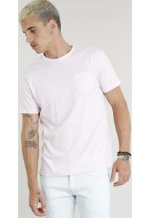 "Camiseta Masculina ""Closed For Vacation"" Com Bolso Manga Curta Gola Careca Rosa Claro"