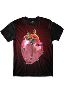 Camiseta Bsc Coração De Máquina Motor Rosa Masculina - Masculino-Vermelho