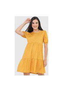 Vestido Fiveblu Midi Marias Amarelo