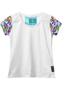 Camiseta Baby Look Feminina Algodão Estampa Folha Macia Moda - Feminino-Branco+Roxo
