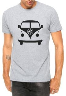 Camiseta Criativa Urbana Carro Antigo Clássico Kombi Manga Curta - Masculino-Cinza