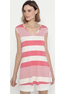 Blusa Listrada Com Fendas- Rosa & Branca- Cotton Colcotton Colors Extra