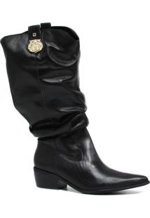 Bota Zariff Shoes Slouch Em Couro Metal Preto