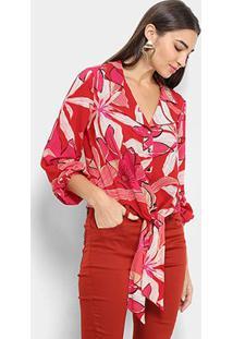 Camisa Morena Rosa Manga Longa Floral Amarração Feminina - Feminino-Vermelho Escuro