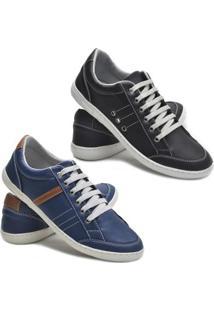 ... Kit 2 Pares Sapatênis Dec Shoes Tênis Casual Masculino - Masculino-Preto +Azul 88df046602bf0