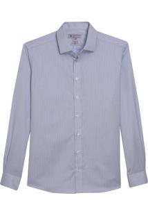Camisa Dudalina Manga Longa Wrinkle Free Maquinetado Listrado Masculina (Branco, 45)