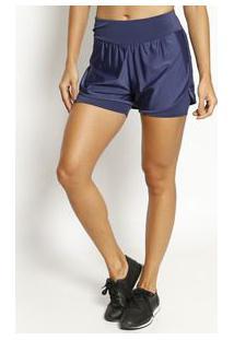 Body For Sure Short Maquinetado Azul Marinho
