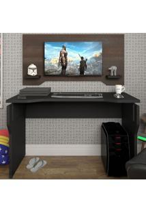 Mesa Gamer Com Painel 2 Prateleiras Preto/Terrano - Artany