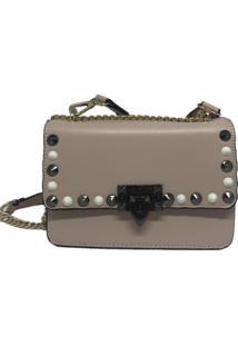 Bolsa Casual Transversal Alça Corrente Sys Fashion 8305 Bege