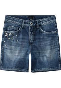Bermuda Jeans Comfort Com Pérolas Malwee