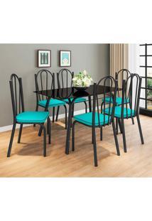 Conjunto De Mesa Com 6 Cadeiras Lotus Preto Fosco Com Azul