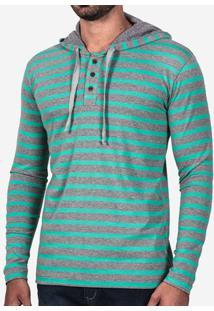 Camiseta Henley Listrada Turquesa Com Capuz 101948