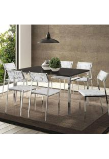 Mesa 1526 Preta Cromada Com 6 Cadeiras 1709 Fantasia Branco Carraro