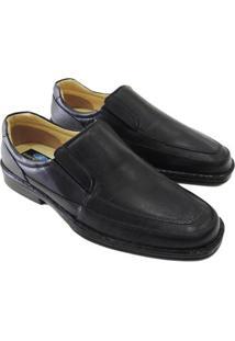 Sapato Conforto Riber Couro Masculino - Masculino-Preto