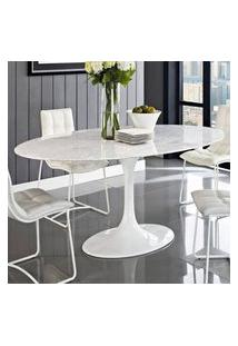 Mesa Jantar Oval Saarinen Mármore Carrara 160X90X73